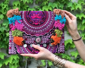 Tassles Details Embroidered Clutch