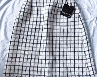 60's Vintage || Skirt || Plaid Skirt || Black and White || Pencil Skirt || Slim Skirt ||Fougstedts Sweden || Size M