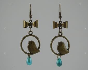 Blue Bird drop earrings
