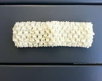 bandeau cheveux crochet extensible de couleur ivoire