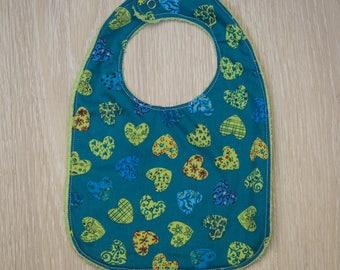 "Green towel ""Hearts"" baby bib"
