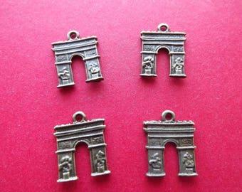 6 charms Arc de Triomphe in metal bronze