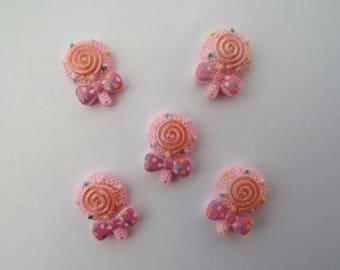 Lot 5 shape lollipop pink glitter resin cabochons