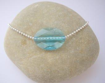 Blue woman with oval Swarovski Bead Bracelet