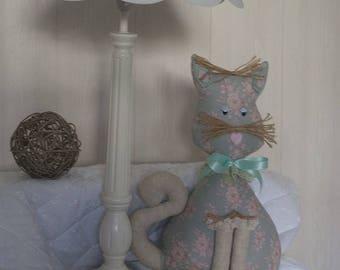 Chat agathe en coton fleuri tendre