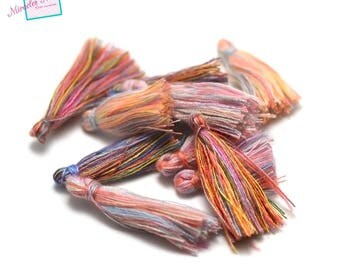 10 multicolor 25-30 mm, color matching cotton thread tassels