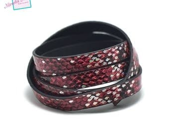 "1.15 cord strap of split leather 10 m x 2 mm ""tortoiseshell"" brilliant Ruby Red"