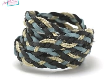 1 m braided strap faux leather and 10 mm, 007 blue/green/ecru linen