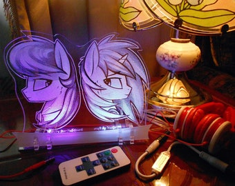 Octavia Melody & Vinyl Scratch acrylic nightlight