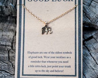 Elephant Necklace - Lucky Elephant Necklace - Gold Elephant Charm