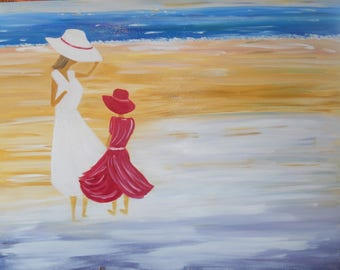 A Sunday afternoon at the beach oil painting on canvas