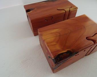 Custom handmade puzzle box aromatic red cedar, anniversary gift, hostess gift, band saw box, stash box,  birthday gift for him, gift for her