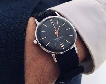 Vintage watch, Luch watch, Ultra rare watch, Wrist watches for men, Black watch, Mechanical watch, Retro watch, Russian watch, Rare watch