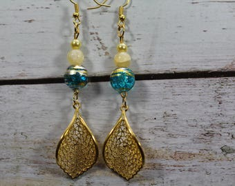 Pearl Earrings turquoise lampwork glass and pearl beads, golden leaf charm