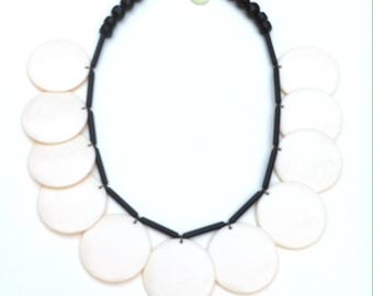 Necklace made with large ivory pellets