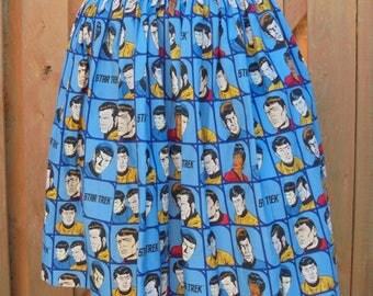 Original Cast Star Trek Cartoon Blue Background Full Skirt*