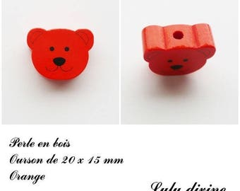 20 x 15 mm wooden bead, Pearl flat Teddy bear head: Orange