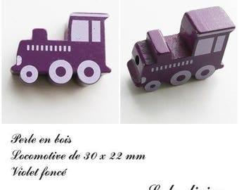30 x 22 mm wood bead, Pearl flat Train / Locomotive: dark purple