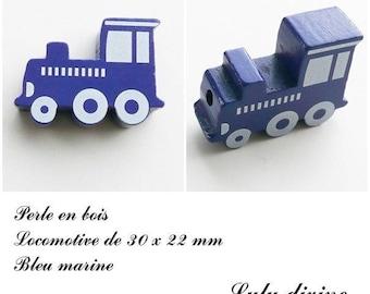 30 x 22 mm wood bead, Pearl flat Train / Locomotive: Navy Blue