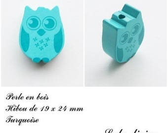 19 x 24 mm wooden bead, Pearl flat OWL / owl: Turquoise