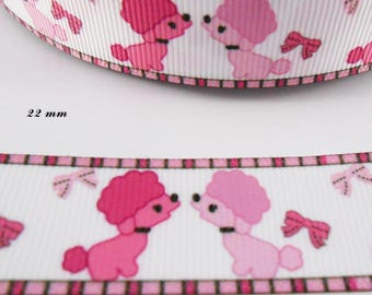 Pink poodle dogs white grosgrain Ribbon 22 mm sold by 50 cm