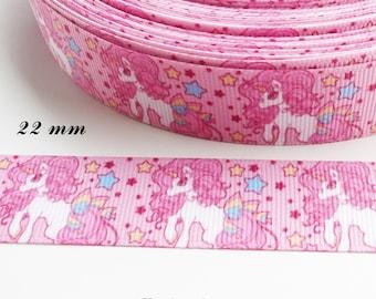 Grosgrain Pink Ribbon stars Unicorn 22 mm sold by 50 cm
