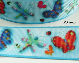 Butterfly & Dragonfly 25 mm blue grosgrain Ribbon sold by 50 cm