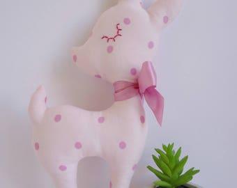 Fawn plush blanket with decorative cotton fabric pink fuscia customizable. Plush toy. Plush fawn. Birth gift. Plush. Fawn. Baby.