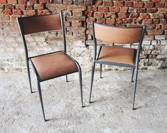 Wood and Metal school chairs - 60s/70s
