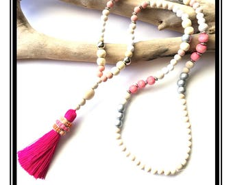 Pastel & Fuchsia tassel necklace / boho Natural zen stone wood pink silver glass beads tassel necklace