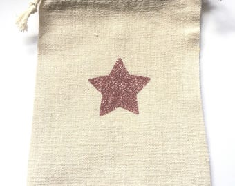 Small pocket with DrawString with sparkly pink star