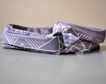 Women's/Children's turban twist headband, unique print, purple