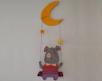 Wooden swing girl bear-wall mural