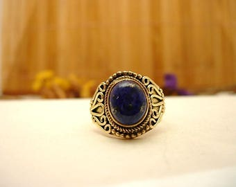 Ring in brass and Lapis lazuli T 60.