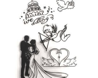 Stamps silicone - clear - Themes wedding Stamp - Cupid / Angel / sign / heart / married / Dove / piece