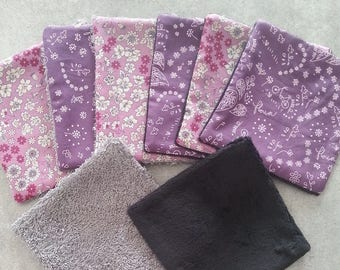 Set of 8 wipes or demake up themed pink liberty