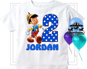 Pinocchio Birthday Shirt, Personalized Shirt,   (mc169)