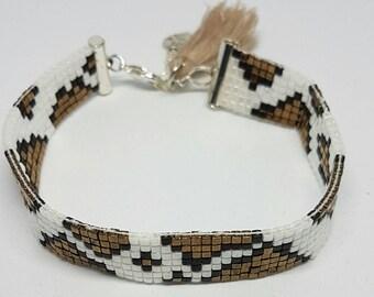 Woven bracelet, cube beads, panther print, women bracelet, Miyuki beads.
