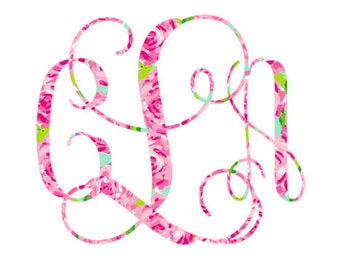 Lilly Inspired Iron On Decal Do It Yourself Tee Shirt Monogram Initial in Vine Interlocking Font with Free Shipping