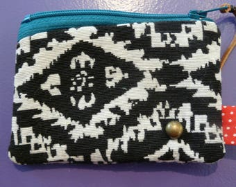wallet - black and white jacquard