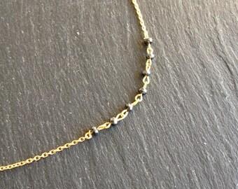 Necklace fine black shiny Hematite