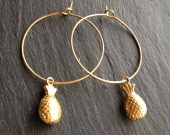 fine hoop earrings gold plated pineapple