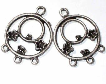 2 pendants MB142 31mm antique Silver earrings