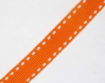 1 meter Ribbon 10mm white stitched orange grain AC198orange