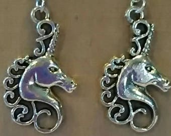 Fancy Silver Unicorn Head Earrings