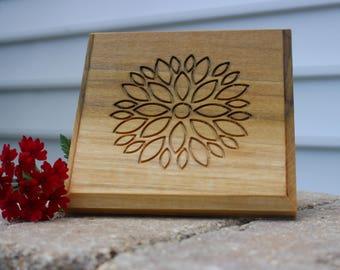 Modern, Wood wall art, Flower, Plaque, gift, wedding gift, housewarming, natural, rustic