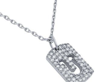 """Rhodium plated cz pave tag necklace with cutout horseshoe 16"""" + 2"""""""