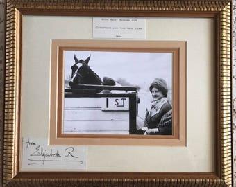Queen Elizabeth Queen Mother Signed Christmas Card Framed 1964
