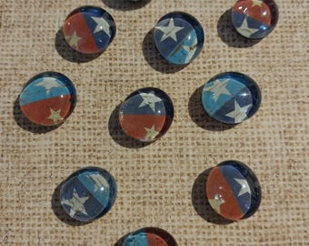 Magnets-Red, White, and Blue Star Glass Gem Magnets
