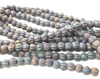 x 40 PCs Czech 4mm melon czech beads